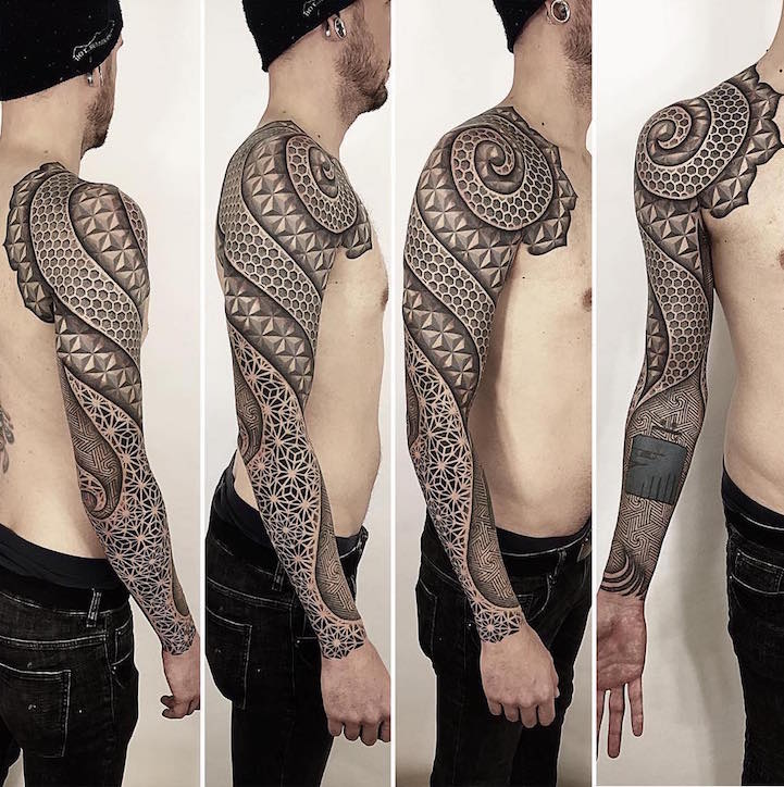 Geometric Sleeve Tattoos Visually Crystalize Across The Body