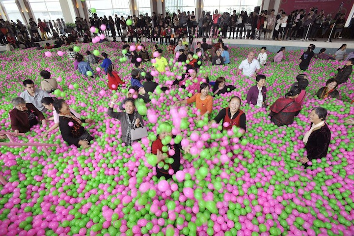 giant ball pit china world's largest ball pit ballpit kerry hotel guinness world records