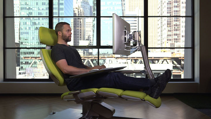 Futuristic Desk And Chair Station Is Fully Adjule For Working While Lying Down