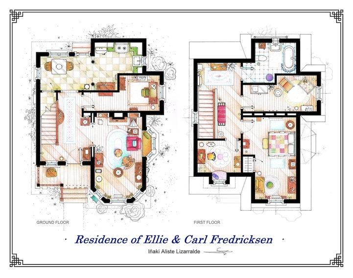 detailed floor plan drawings of popular tv and film homes