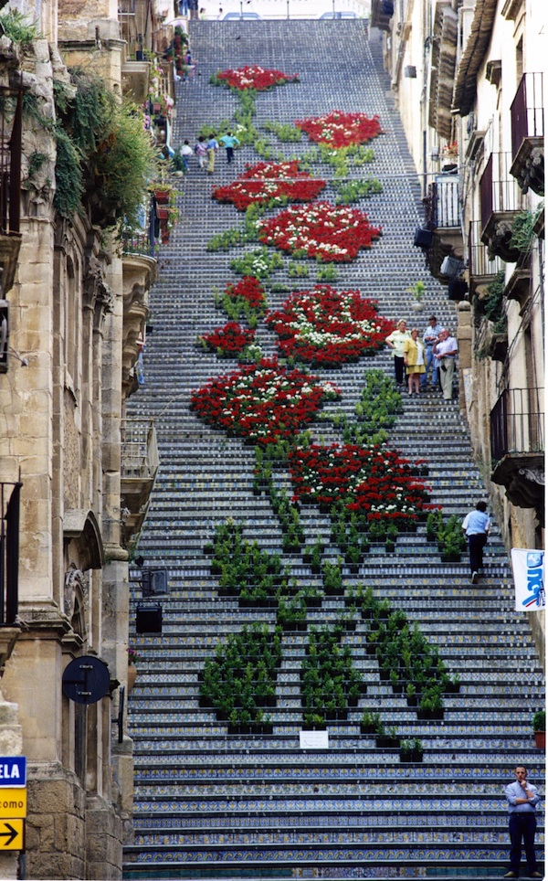 Thousands Of Potted Flowers Form A Grand Design On A Staircase In