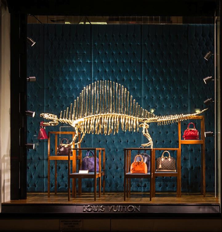 594132b15f894 Gold Dinosaur Skeletons Adorn Louis Vuitton Display