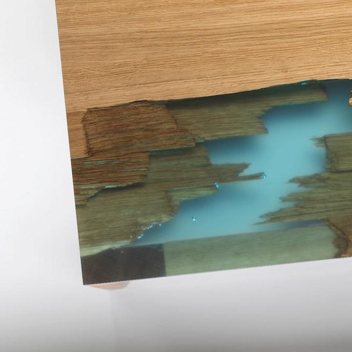 "Glow In The Dark Resin eco-friendly furniture uses glowing bio resin to ""self heal"