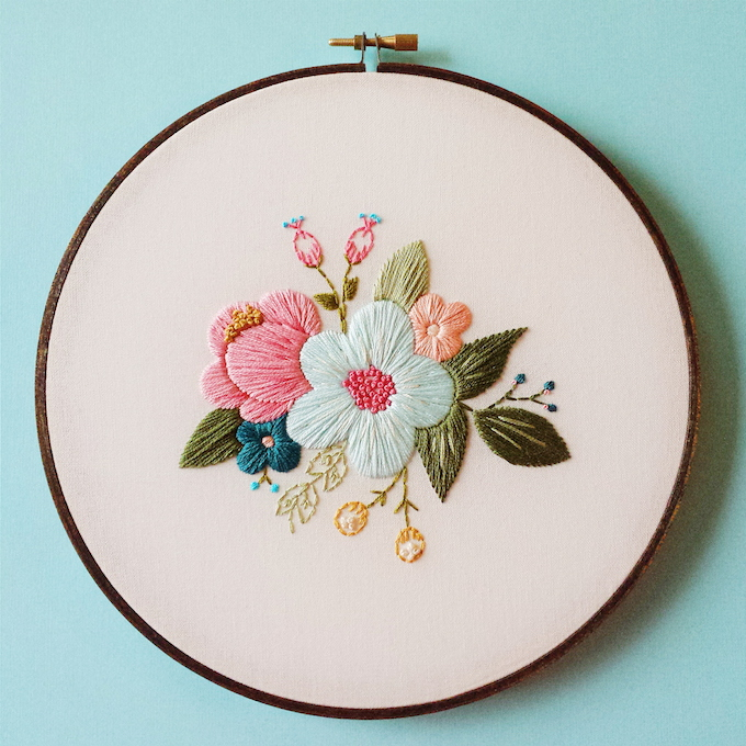 Delicate Hoop Art Embroidery Blossoming With Floral Motifs
