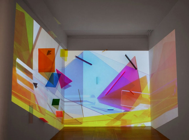 Light Projection Turns Plain Room Into Geometric Maze