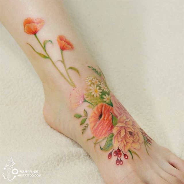 c1155f4f7bf7c Ethereal Floral Tattoos Mimic Delicate Watercolor Paintings on Skin