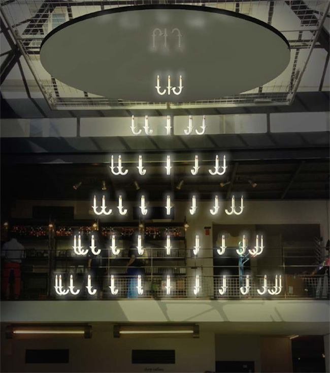Louis XIV-Inspired Floating Chandelier Made of 91 Porcelain Candles