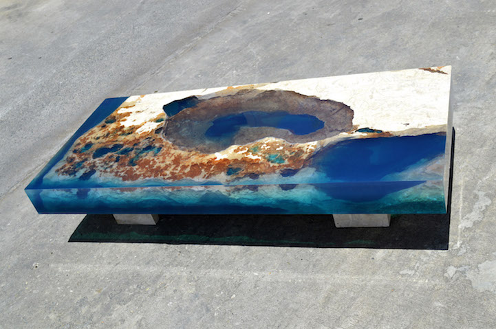 natural stone and resin coffee table brings the soothing beauty of