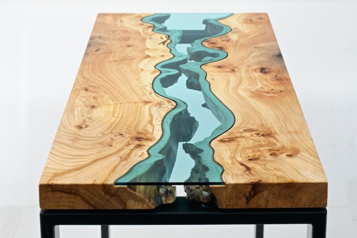 . Gorgeous Reclaimed Wood Tables Embedded with Glass Rivers