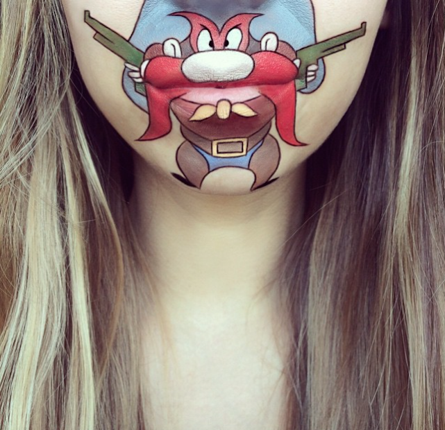 yosemite sam laura jenkinson lip art cartoon character makeup mouth lipstick