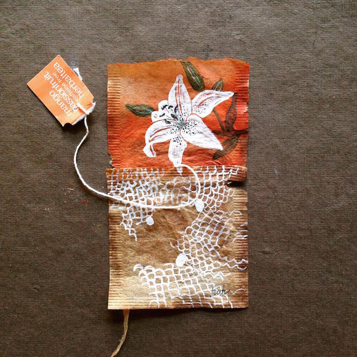 Artist uses soggy stained tea bags as canvas for detailed daily art - Uses for tea bags ...