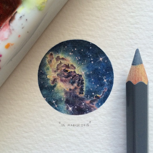 Miniature watercolor paintings of space by lorraine loots - Small space tips paint ...