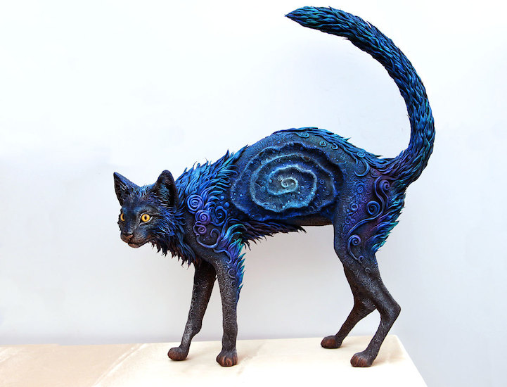 Galaxy Cat Sculpture Features Brilliant Color And
