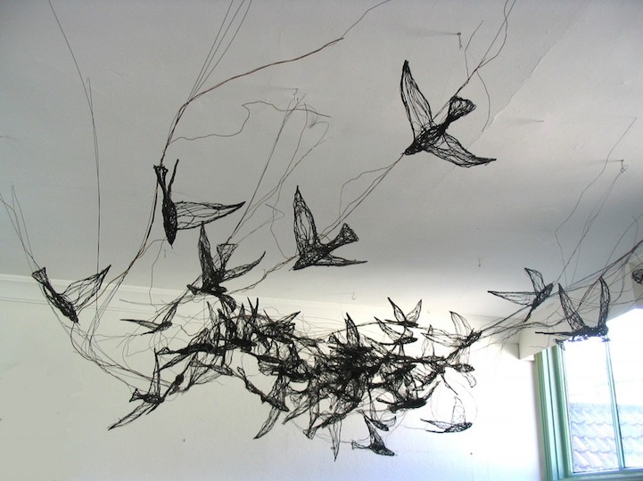 3d wire bird sculptures look incredibly like 2d drawings for 3d wire art