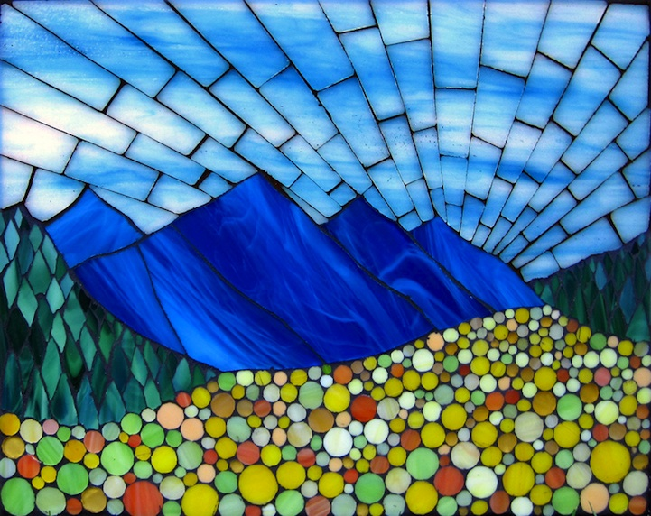 Vibrant stained glass mosaics of classic american landscapes for Mosaic landscape design