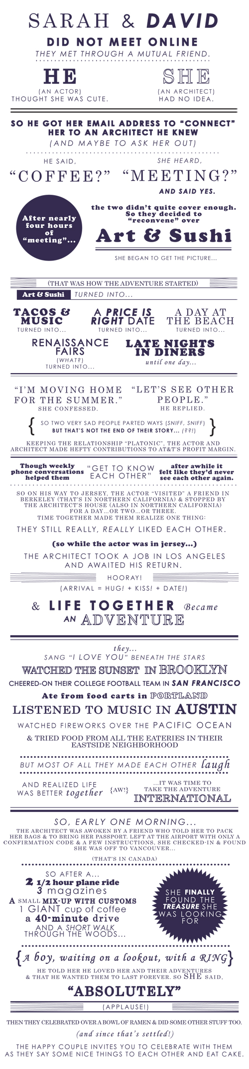 david magidoff sarah magidoff funny wedding invitation typography graphic design sweet love story