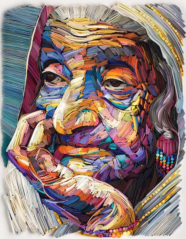 Image of: Watercolor Colorful Paper Quilled Portraits Explore The Stories Told Through Faces Of The Elderly My Modern Met Colorful Paper Quilled Portraits Explore The Stories Told Through