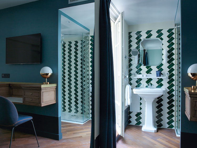 Intricate Geometric Tiles Of Hotel Guest Bathrooms In Paris