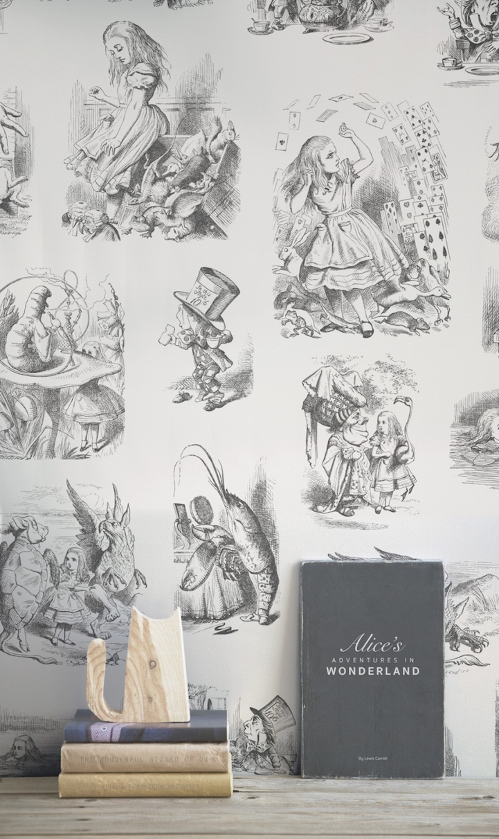 Whimsical alice in wonderland wallpaper brings original 150 year regardless of which works of classic literature are your favorites the murals are a delightful way to enliven humdrum walls with fanciful charm amipublicfo Images