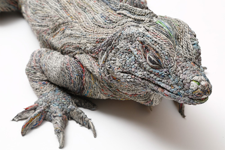 Exquisite Details In Paper Iguana Sculpture