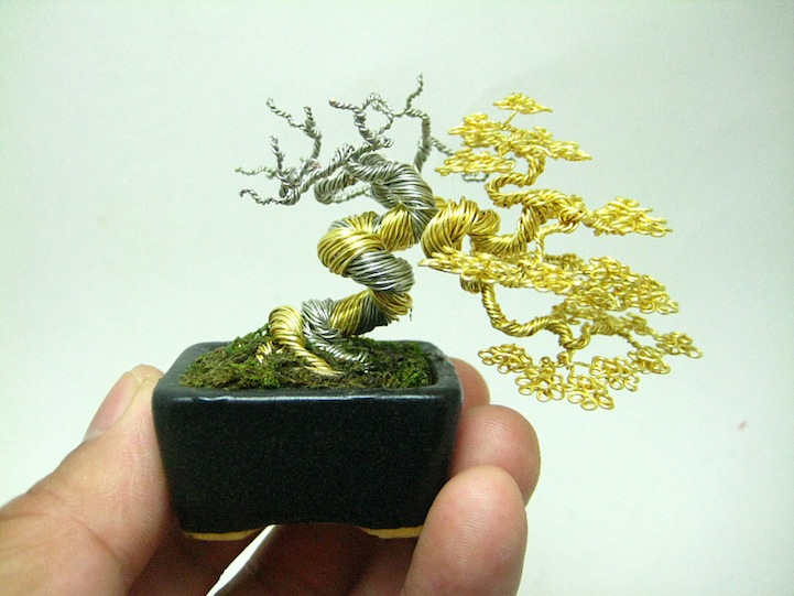 miniature bonsai tree sculptures made of wire rh mymodernmet com wiring bonsai tree trunk wiring bonsai step by step
