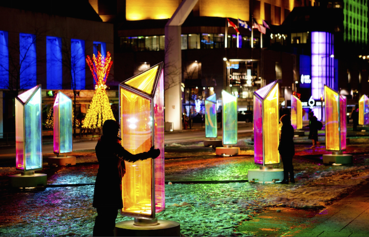 50 Prisms Emit Colorful Lights On The