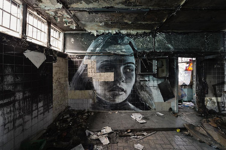 rone street art portraits empty abandoned buildings murals fragility art