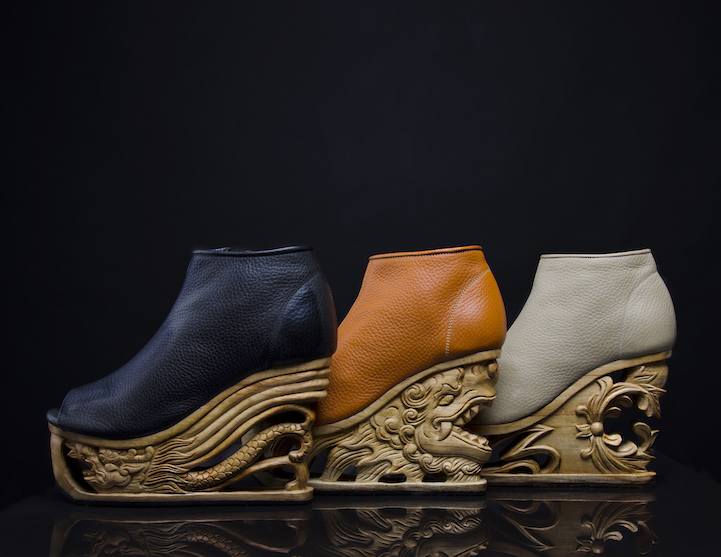 c0b81cfe61 Exquisite Wooden Heels Hand-Carved with Ancient Vietnamese Pagoda Techniques