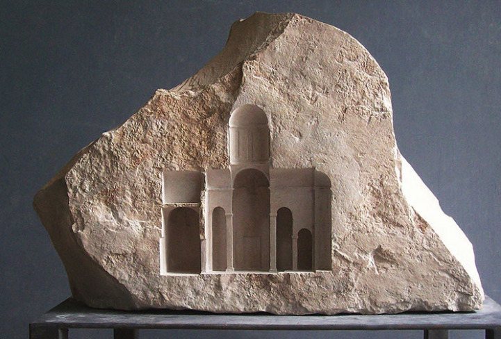 Marble Stone Elevation : Sculptor carves ornate architecture interiors into small