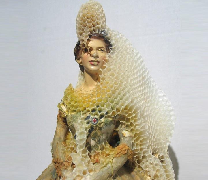 Honeybees Cover Porcelain Sculptures In Honeycombs