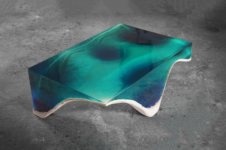 Elegant Marble And Acrylic Glass Table Mimics The Layered Depth Of - Incredible layered glass table mimics oceans depths