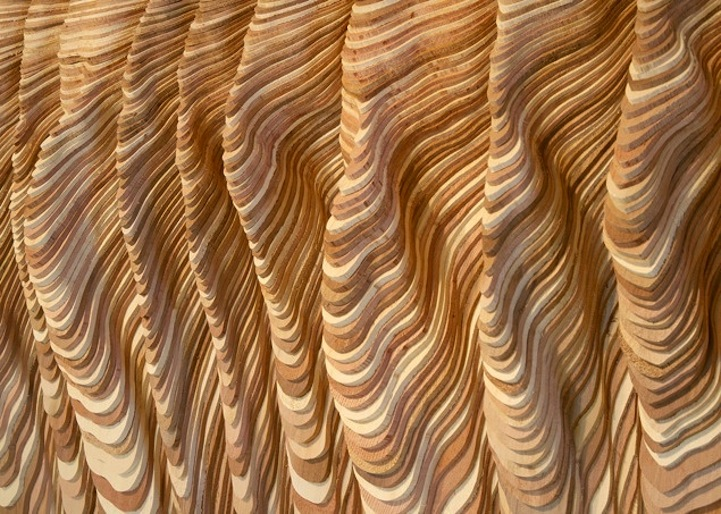 Hundreds Of Pieces Of Stacked Wood Form Beautifully