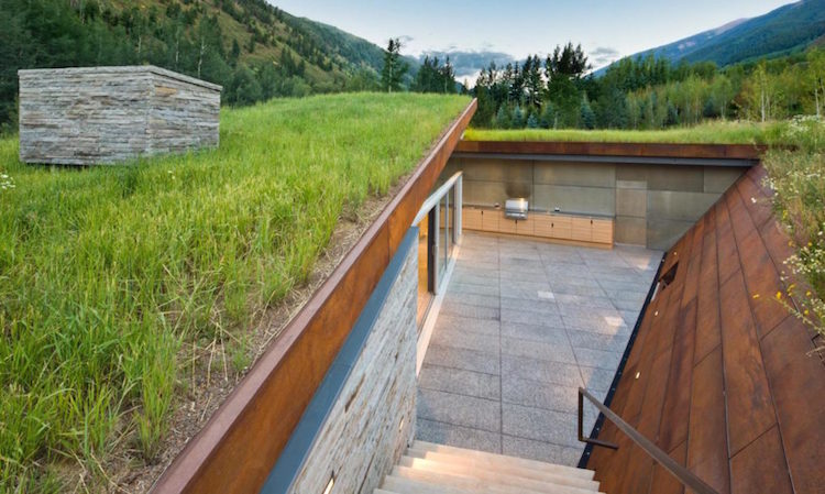 Grass Roof Home Is Built Into The Ground For Energy