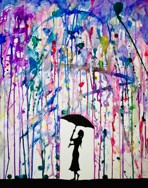 colorful dripping wet ink drawings