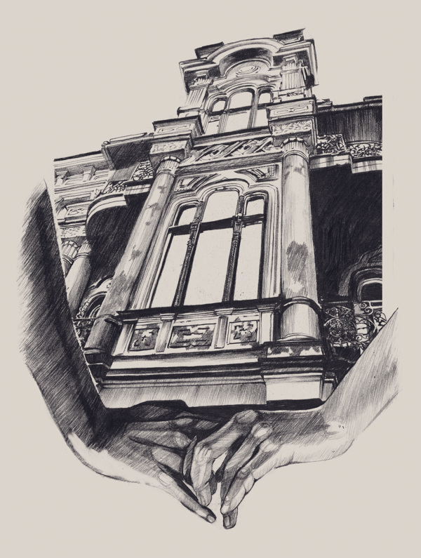 Surreal drawings of hands cradling architecture for Cheap architectural drawings