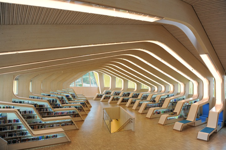 Norwegian Library S Modern Ribbed Interior Design