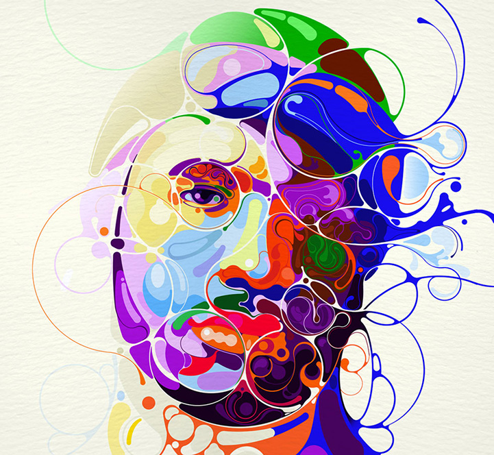 abstract illustration martin colorful sati graphic portraits illustrations lines modern colors illustrator artist emerge graphics contemporary designer expressionism arts patterns