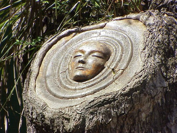Sculptor releases mysterious spirits already in trees