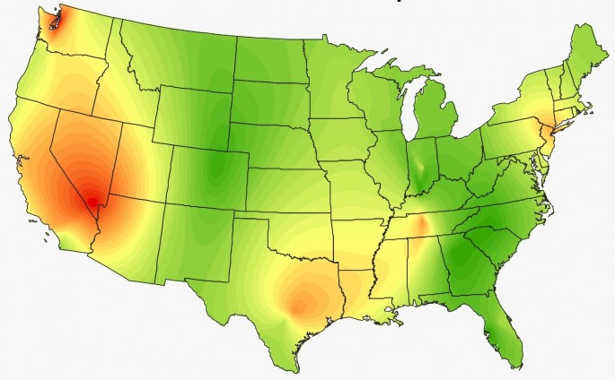 Heat Maps Show The Surprising Musical Preferences Of The United States - Heat map us