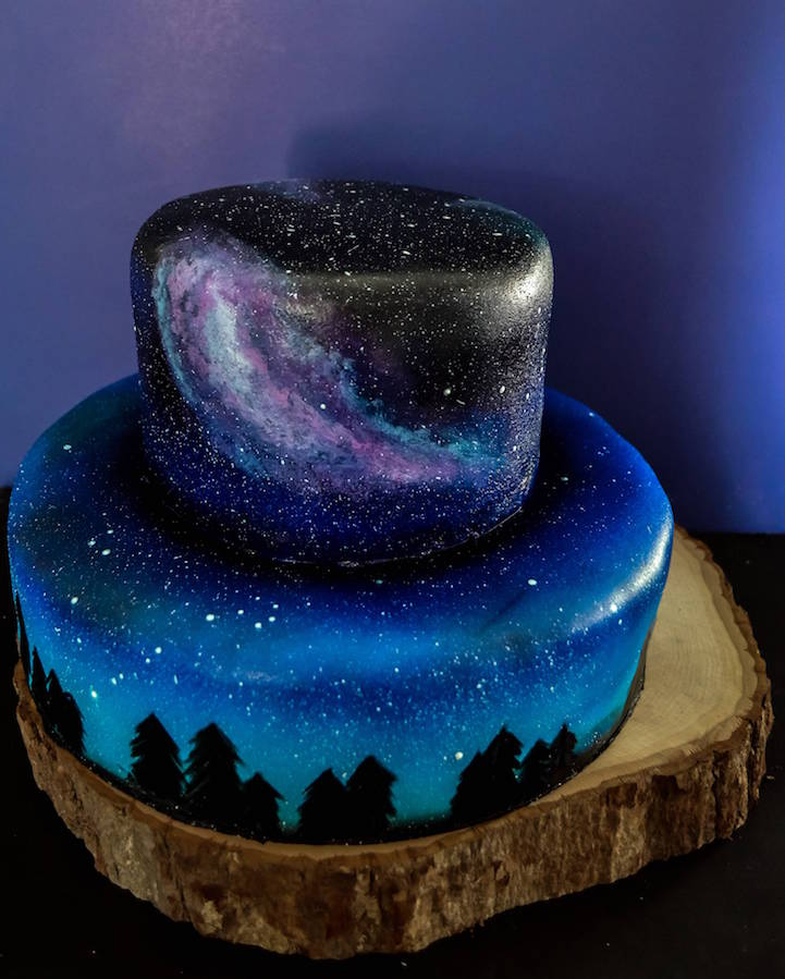 Artistic Baker Paints Galaxy Themed Wedding Cake And Galaxy Cupcakes