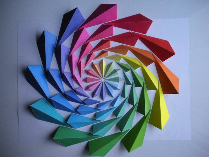 Colorful Origami Flowers Change With Shadows And Light