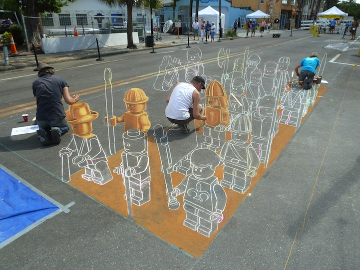 Incredible Making of the 3D LEGO Chalk Drawing