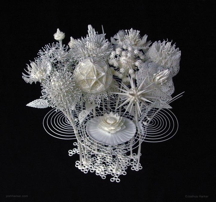 Mazzo Di Fiori English.Filigree Floral Sculpture Produced With Innovative 3d Printing