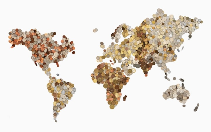 Two world maps created with a countrys own currency gumiabroncs Gallery