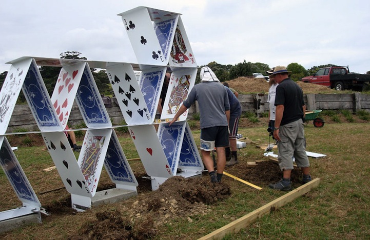 Giant House of Cards Sculpture