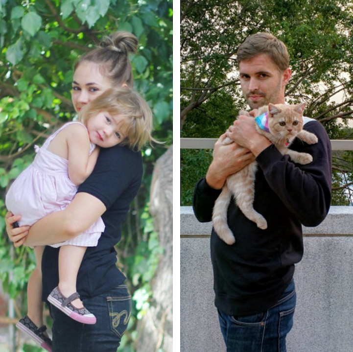 recreating family photos with a cat
