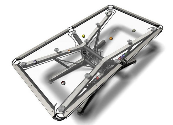 the nottage design g 1 is a pretty cool modern redesign of a classic old school game this glass topped pool table features a transparent playing area with