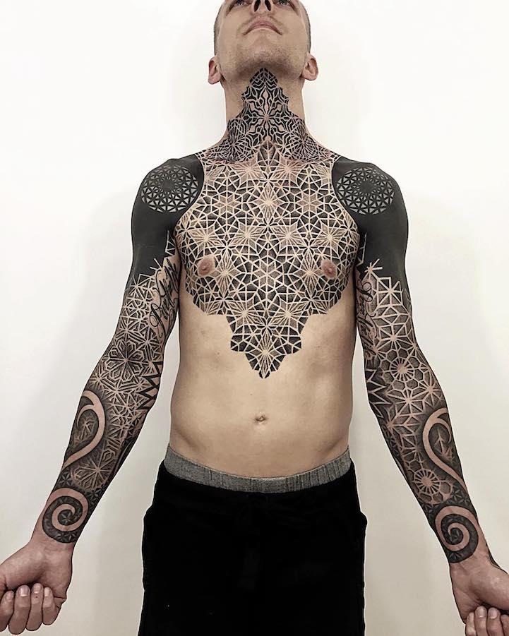 8f17a0124 Geometric Sleeve Tattoos Visually Crystalize Across the Body