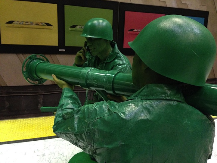 halloween couple in homemade green army men costumes