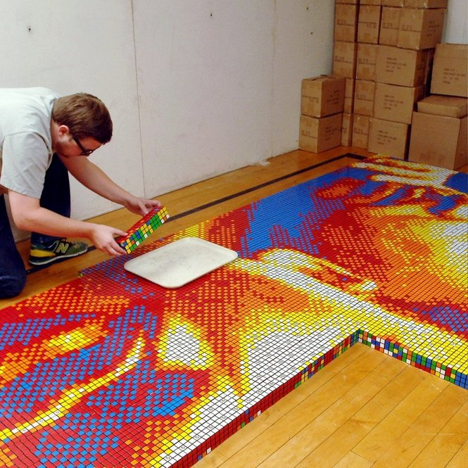 Martin Luther King Jr. made of 4,242 Rubik's Cubes by Pete Fecteau